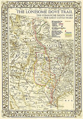 "The Lonesome Dove~Comanche Moon~Great Trails Map 36""x24"