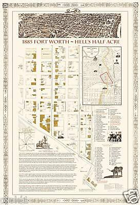 """1885 Fort Ft Worth~HELL's HALF ACRE~Tx Trail Map~20x16"""""""