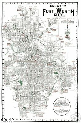 """1920 Fort Ft Worth TX City Street Map-24"""" by 18"""""""