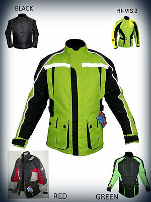 Men's Motorbike Black Jacket Textile Winter Motorcycle Waterproof Cordura Free