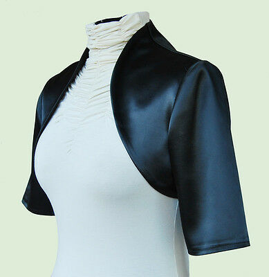 New Women Black Wedding/Prom Satin Bolero Shrug Jacket  S M L XL XXL