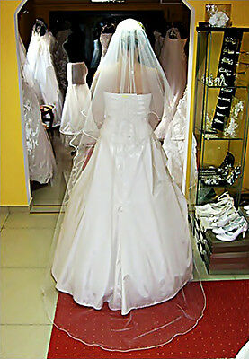 """New White Ivory Wedding Pencil Edge Bridal 2 Tier Cathedral Veil With Comb 78"""""""