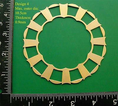 Single Replacement Brass Skeleton Clock Dial , unpainted 10.2cm OD (design4)