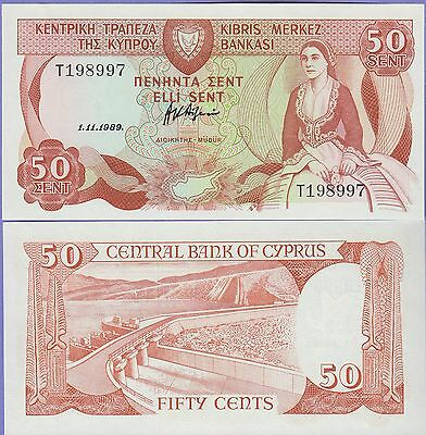 Cyprus 50 Sent Banknote 1.11.1989 Uncirculated Condition Cat#52-8997