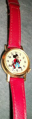 Vintage Mickey Mouse Mechanical Wind Watch With Swiss Works  (2nd Hand-Flower)