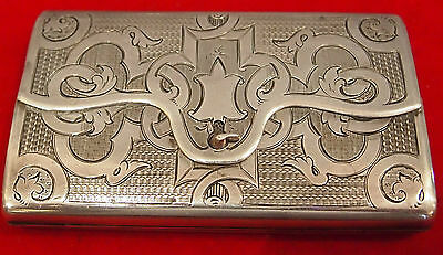 Russian  C 1860 Large Box Or Purse 84 Silver Rare Details Signed & Dated By :ies
