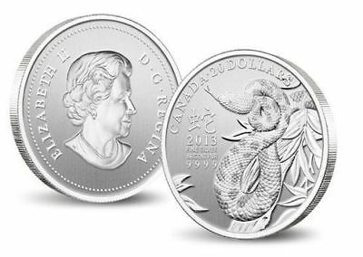 1/4oz fine silver $20 Coin - 2013 Lunar Year of the Snake - Royal Canadian Mint