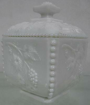 Real Nice Vintage Westmoreland Covered Milk Glass Jar~Fancy Grape Pattern