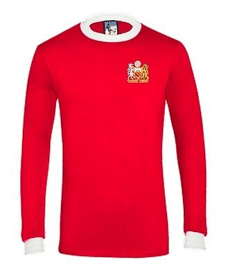 Retro Manchester United 1970s Long Sleeve Football Shirt Sizes S-XXL