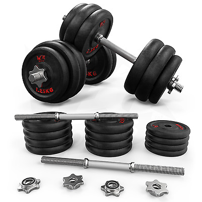 30kg Dumbbell Set Gym Cast Iron Free Weights Biceps Gym Workout Training Fitness