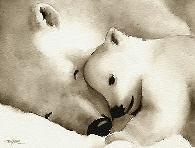 POLAR BEAR Watercolor Painting 5 x 7 ART PRINT Signed by Artist DJR