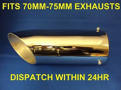 Universal Chrome CURVED Exhaust Tail Pipe **70MM-75MM**