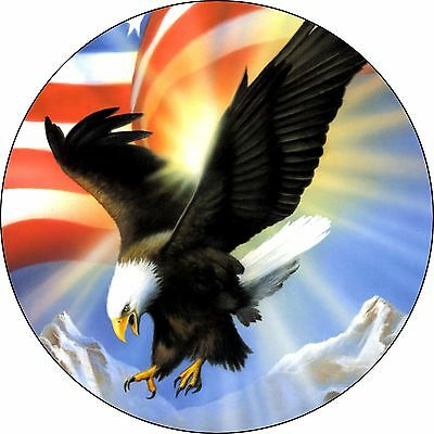 Eagle # 4-Eagle with flag Spare Tire Cover Jeep RV Camper & More(all sizes avail