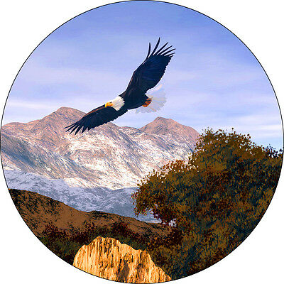 Eagle #5 soaring in mountain Spare Tire Cover Jeep RV Camper etc(all sizes avail