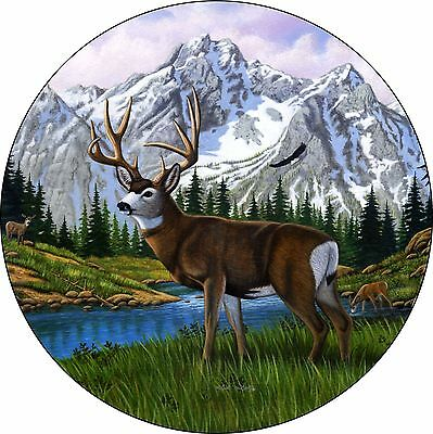Deer #5 Spare Tire Cover buck with mountains Jeep RV Camper etc(all sizes avail)