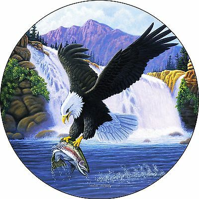 Eagle #8 catching trout fish Spare Tire Cover Jeep RV Camper etc(all sizes avail