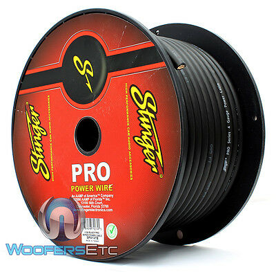 Stinger Spw14Tb-100 Pro Hpm 4 Gauge Awg Blk 100 Feet 1400W Power Wire Cable Cord