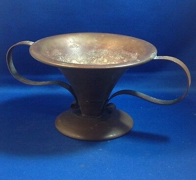 "Vintage Arts & Crafts Movement Copper Vase Bowl, 4 1/2"" Tall X 10 1/2"" Wide"