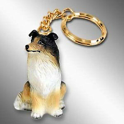 COLLIE Tri Color Dog Tiny One Resin Keychain Key Chain Ring