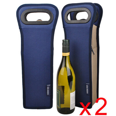 2 x Insulated wine cooler bags | Single Wine Gift Bag | Bulk Pack | BYO | Navy