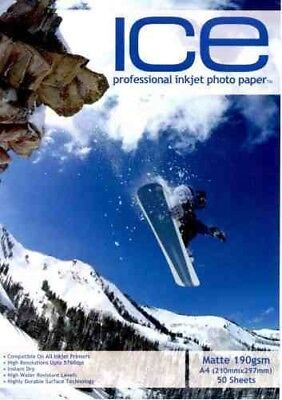 Ice Professional Inkjet Photo Paper A4 Matte 190 gsm (Pack Size 50 Sheets)