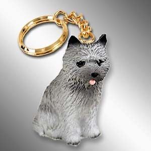 CAIRN TERRIER Gray Dog Tiny One Resin Keychain Key Chain Ring