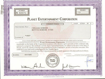 Planet Entertainment Corporation   Nevada music business stock certificate