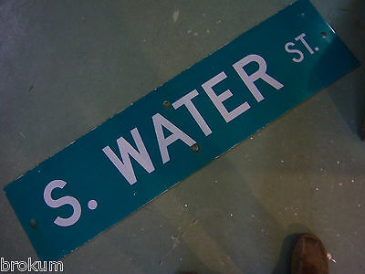 """Large Original S. Water St Street Sign 48"""" X 12"""" White Lettering On Green"""