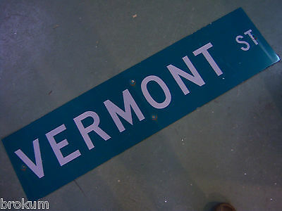 "Large Original Vermont St Street Sign 48"" X 12"" White Lettering On Green"