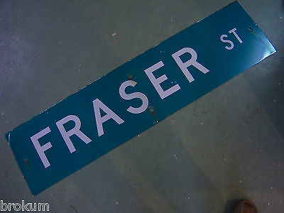 "Large Original Fraser St Street Sign 48"" X 12"" White Lettering On Green"