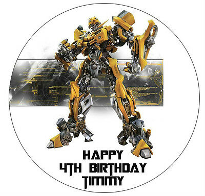 1 x Transformers Bumblebee 19cm round personalised cake edible image topper
