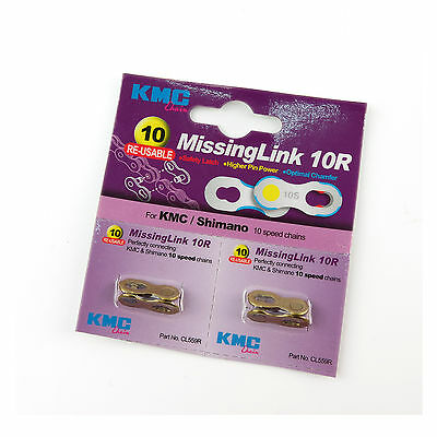 KMC 10R 10-Speed Re-usable Chain Missing Link For Shimano - Gold