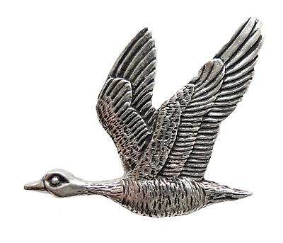 Goose Flying Pewter Pin Badge - Hand Made in Cornwall