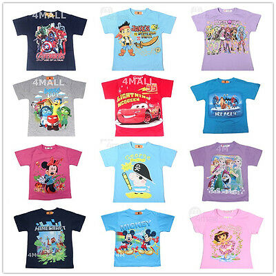 New Kids Boys Girls Summer Short Sleeve Cotton T-shirt Shirt Outfits Top Tee Sz
