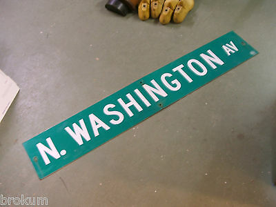 "Large Original N. Washington Av Street Sign 54"" X 9"" White Lettering On Green"