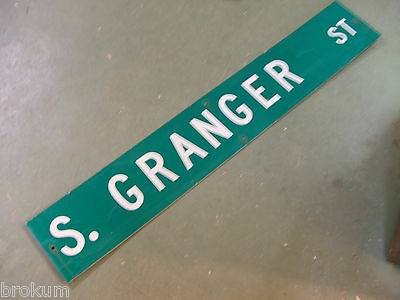 "Large Original S. Granger St Street Sign 54"" X 9"" White Lettering On Green"