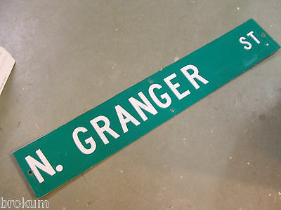 "Large Original N. Granger St Street Sign 54"" X 9"" White Lettering On Green"