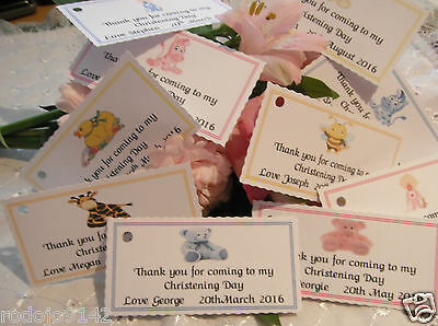 20 Personalised Christening / Naming / Baptism Favour Thank You Tags 10 Designs