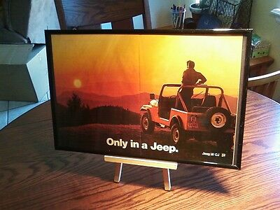 """set of 4 GREAT BIG 11X17 FRAMED """"ONLY IN A JEEP"""" WRANGLER CJ MAGAZINE PROMO ADS"""
