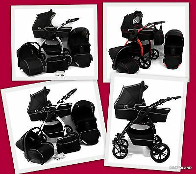 LUCKY 3 in 1 Pram Pushchair Travel System with car seat BLACK !!! LUXURY!!!!!