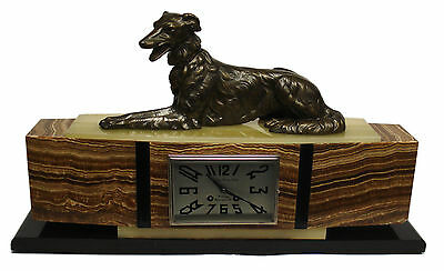 Antique 19 Century French ART DECO Bronze Dog Sculpture Mantel Clock by F Marti