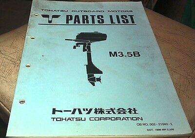 1996  TOHATSU M3.5B  Outboards Factory Parts Book