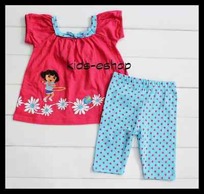 DORA the Explorer girl 2 piece outfit set shirt tunic leggings casual party 1-5y