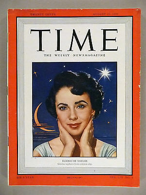 Time Magazine - August 22, 1949 -- Elizabeth Taylor cover -- nice condition
