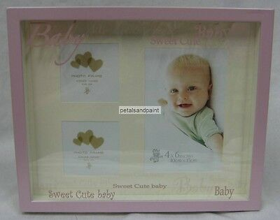Baby Girl 3 Photo Collage Frame Shadowbox Keepsake Hang Or Stand Great Gift New!