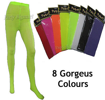 Womens Fluoro Full Foot Tights Pantyhose Stockings Party Costume Dance-AU Stock