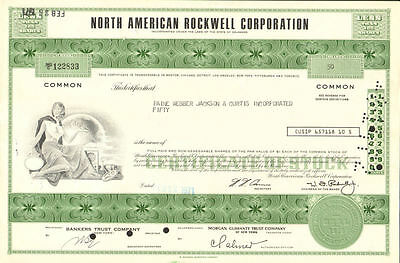 North American Rockwell International   green stock certificate