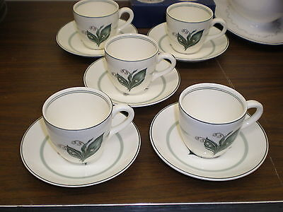 5 BOOTHS Demitasse Cups and Saucers-Lilies of the Valley