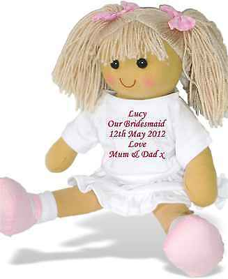 Personalised Rag Doll Bridesmaid Flower Girl Mother of Bride Groom Favour Gift