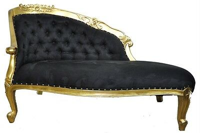 Black velvet rococo ornate silver chaise longue diamond for Black and gold chaise lounge